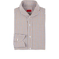 Isaia Men's Plaid Poplin Shirt Brown