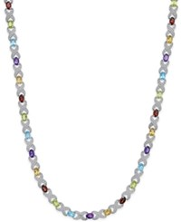 Macy's Multi Gemstone 18 Ct. T.W. And Diamond Accent Necklace In Sterling Silver