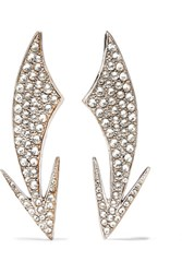 Saint Laurent Silver Plated Crystal Clip Earrings