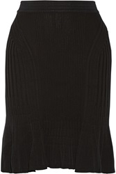 Ohne Titel Fluted Textured Knit Cotton Skirt Black