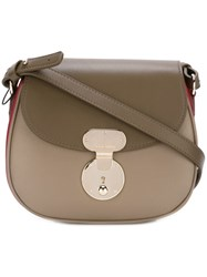 Giorgio Armani Saddle Sling Crossbody Bag Brown