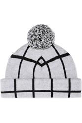 Rag And Bone Mallori Checked Merino Wool Beanie Off White