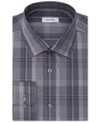 Calvin Klein Men's Steel Big And Tall Classic Regular Fit Non Iron Performance Blue Check Dress Shirt Navy