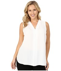 Vince Camuto Plus Size Sleeveless V Neck Blouse With Inverted Front Pleat New Ivory Women's Blouse Bone