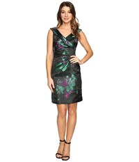 Tahari By Arthur S. Levine Floral Printed Satin Portrait Collar Sheath With Side Ruche Black Emerald Violet Women's Dress