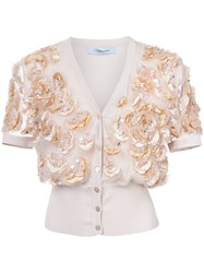 Blumarine Embroidered Cropped Cardigan Nude And Neutrals