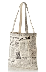 Kate Spade Newspaper Print Canvas Shopping Tote White