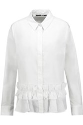 Mcq By Alexander Mcqueen Ruffled Cotton Poplin Blouse White