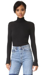 Enza Costa Heather Rib Split Cuff Turtleneck Black