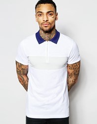 Diesel Polo T Leonardo Slim Fit Pique Chest Panel And Contrast Collar In White White