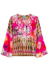 Taj Embellished Tie Dye Silk Top Multicolor