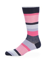 Saks Fifth Avenue Made In Italy Striped Socks Navy Pink