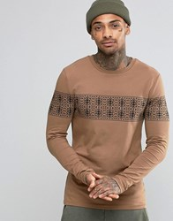 Asos Muscle Long Sleeve T Shirt With Aztec Skull Print Tan Brown
