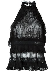 Just Cavalli Tiered Lace Top Black