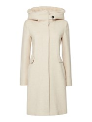 Marella Footing Wool Coat Faux Fur Hood Cream