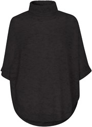 Soaked In Luxury Roll Neck Mohair Blend Poncho Black
