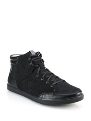 Saks Fifth Avenue By Cole Haan Owen Leather And Suede High Top Sneakers Black
