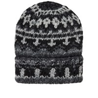 Chamula Double Cuff Fair Isle Hat Grey