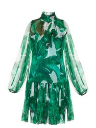Dolce And Gabbana Banana Leaf Print Tie Neck Chiffon Dress Green Multi