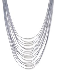 Inc International Concepts Silver Tone Multi Row Cord Necklace Only At Macy's