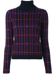 Carven Plaid Turtleneck Pullover Blue