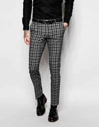 Noose And Monkey Monochrome Check Suit Trousers In Skinny Fit Black