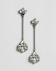 Asos Jewel Strand Drop Earrings Crystal Clear
