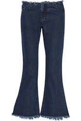 Marques' Almeida Cropped Frayed Low Rise Flared Jeans Blue