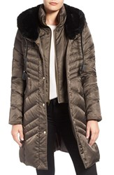Via Spiga Women's Water Repellent Puffer Coat With Faux Fur Trim Pecan Shell