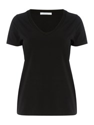Hugo Boss Estana V Neck Trim Detail Jersey T Shirt Black