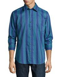 Nat Nast On The Ropes Paisley Stripe Printed Sport Shirt Petrol