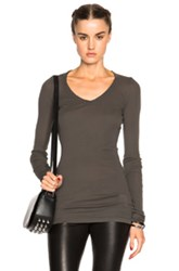 Drkshdw By Rick Owens Ribbed V Neck Tee In Gray