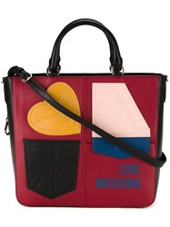 Love Moschino Medium Patches Shopping Bag Red