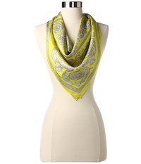 Versace Classic Scroll And Rose Scarf Lemon