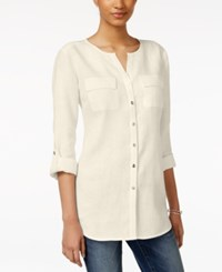 Jm Collection Linen Utility Shirt Only At Macy's Flax