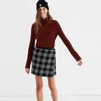 Madewell Plaid Academy Wrap Skirt Classic Black