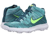 Nike Fi Flyknit Chukka Rio Teal Midnight Turquoise Hyper Jade Volt Men's Golf Shoes Blue