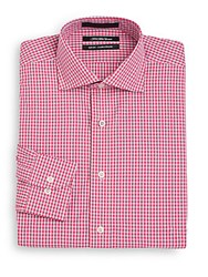 Saks Fifth Avenue Slim Fit Two Tone Gingham Dress Shirt Pink Blue