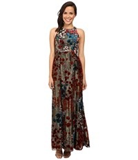 Aidan Mattox Long Metallic Burnout Gown Metallic Gold Women's Dress