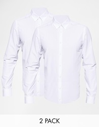 Smart Shirt With Square Collar And With Button Down Collar Twinpack Save 21 White