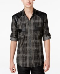 Inc International Concepts Men's Bleach Faux Leather Plaid Long Sleeve Shirt Only At Macy's Dark Lead Combo