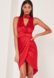 Missguided Silky Choker Midi Dress Red