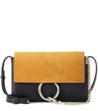 Chloe Faye Small Suede And Leather Crossbody Bag Black