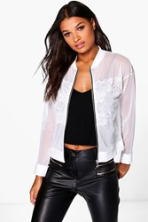 Boohoo Michelle Lace Panel Mesh Bomber Ivory