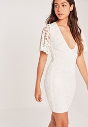 Missguided Flare Sleeve Plunge Lace Bodycon Dress Cream Ivory