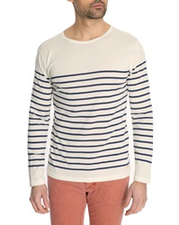 Armor Lux White And Blue Mercerised Cotton Sailor Top
