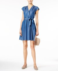 Maison Jules Chambray Faux Wrap Dress Only At Macy's Dark Wash