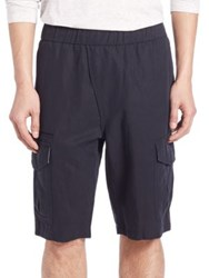 Vince Linen Blend Asymmetrical Shorts Black