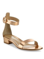 Gianvito Rossi Metallic Leather Ankle Strap Sandals Gold