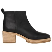 Whistles Bera Crepe Block Heeled Ankle Boots Black Leather